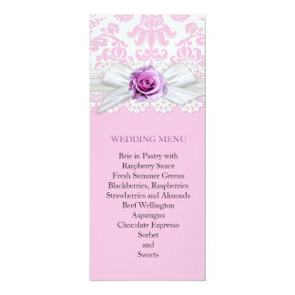 Ribbon Rose Lace Damask Wedding Menu 10 Cm X 24 Cm Invitation Card