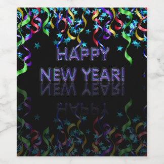Ribbon Streamers | Happy New Year! | Wine Label