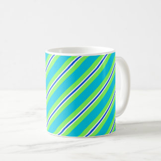 Ribbon stripes, turquoise and lime green coffee mug