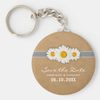Ribbons and Dasies Faux Rustic Paper Save the Date Basic Round Button Key Ring