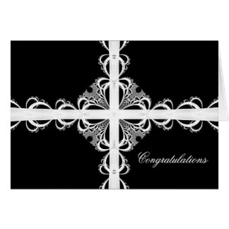 Ribbons and Lace Black and White, Congratulations Card