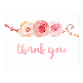 ribbons and pearls thank you card, sweet thank you postcard