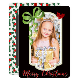 Ribbons & Hollies, Two Sided Photo Christmas Card 13 Cm X 18 Cm Invitation Card