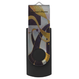 Ribbons of Gold and Black - Watercolor Abstract USB Flash Drive