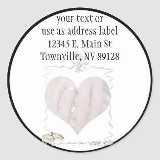 Ribbons & Rings with Wedding Couple Stickers