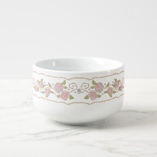 Ribbons & Roses White Bowl Soup Bowl With Handle