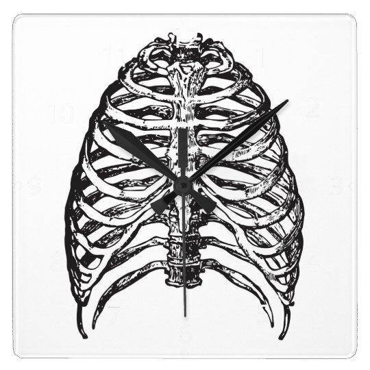 Ribs illustration - ribs art square wall clock