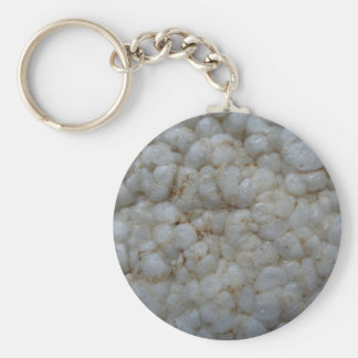 Rice Cake ,  Healthy Food, White Snack Basic Round Button Key Ring