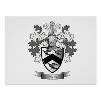 Rice Family Crest Coat of Arms Poster