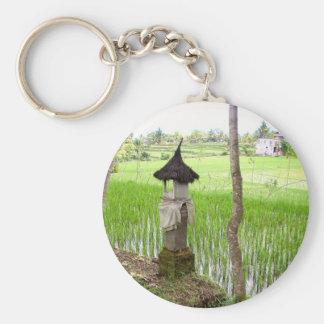 Rice Paddy, Temple, Ubud Bali, Indonesia Key Ring