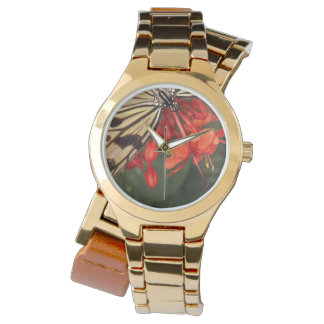 Rice Paper Butterfly Gold Wrap-Around Watch