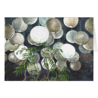 Rice paper lamps hanging  from the ceiling -l card
