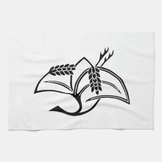 Rice plant crane tea towel