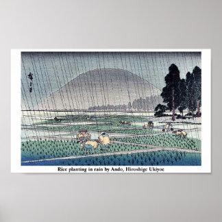 Rice planting in rain by Ando, Hiroshige Ukiyoe Poster