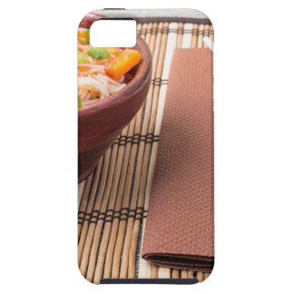Rice vermicelli hu-teu in a small brown bowl case for the iPhone 5