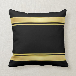 Rich Black and Gold Stripes Cushion