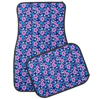 Rich blue and pink floral pattern Japanese Plum Car Mat
