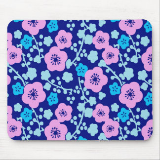 Rich blue and pink floral pattern Japanese Plum Mouse Pad