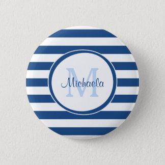 Rich Blue Even Stripes Sleek Name and Monogram 6 Cm Round Badge