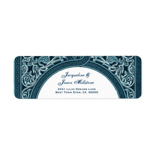 RICH BLUE Floral Arch Wedding Address Return Address Label