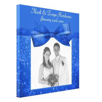 Rich Blue Glitz & Shimmer Add A Photo Frame Up Canvas Print