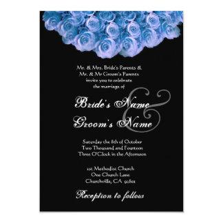 RICH BLUE Rose Wreath Wedding Invitation