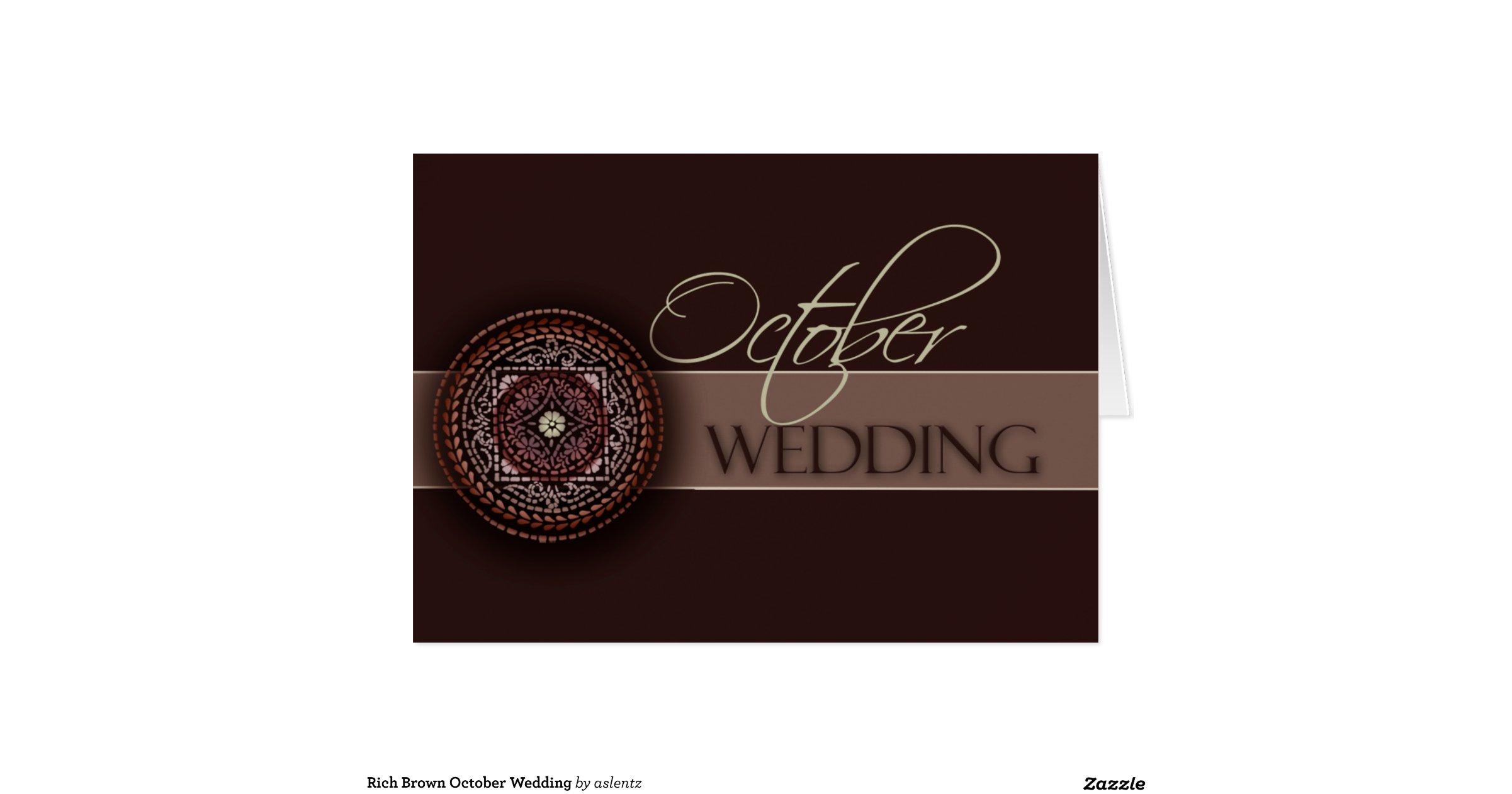 Rich Brown October Wedding Greeting Card