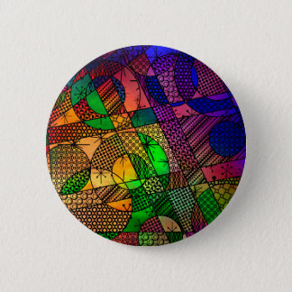 Rich Colorful, Textured Geometric Abstract 6 Cm Round Badge