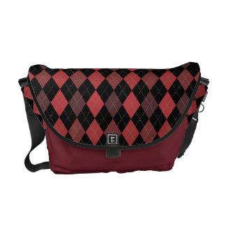 Rich Crimson Red Argyle Classic Courier Bags