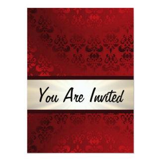 "Rich dark red damask & gold 5.5"" x 7.5"" invitation card"