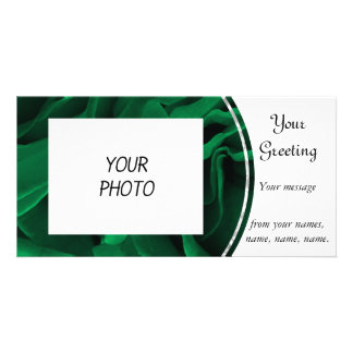 Rich emerald green roses floral photo card