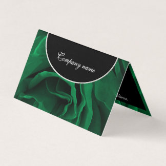 Rich emerald green velvet roses floral photo business card