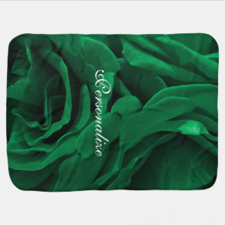 Rich emerald green velvety roses floral photo baby blanket
