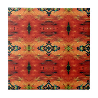 Rich Fall Orange Yellow Tribal Pattern Small Square Tile