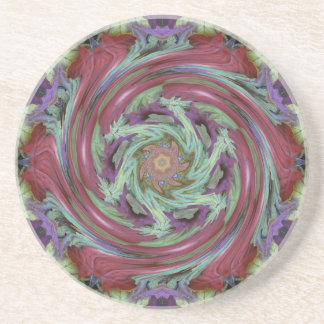 Rich Fall Toned Artistic Spiral Abstract Beverage Coasters