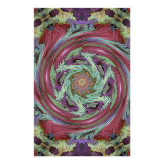 Rich Fall Toned Artistic Spiral Abstract Customised Stationery
