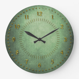 Rich Green Grunge Numbered Wall Clocks