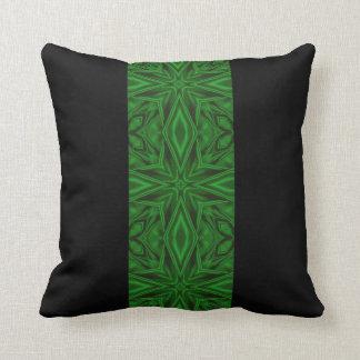 Rich Green Satin Fractal Stripe Cushion