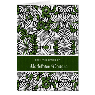 Rich Green with White Leafy Fronds Card