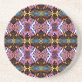 Rich Jewel Tones Abstract Fractal Tribal Pattern Beverage Coasters