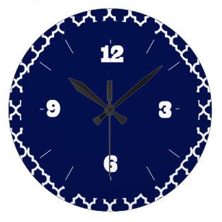 Rich Navy Blue and White Quatrefoil Pattern Large Clock