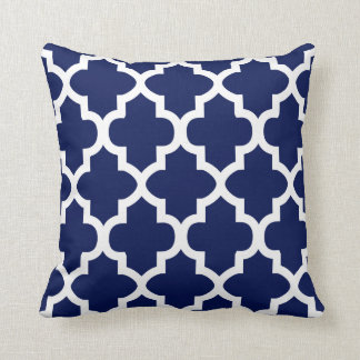 Rich Navy Blue and White Quatrefoil Pattern Throw Pillow