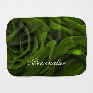 Rich olive green velvety roses flower photo burp cloth