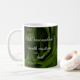 Rich olive green velvety roses flower photo coffee mug