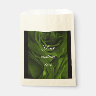 Rich olive green velvety roses flower photo favour bag