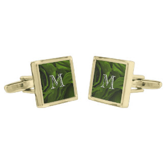 Rich olive green velvety roses flower photo gold finish cufflinks