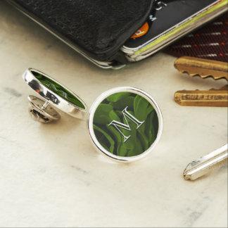 Rich olive green velvety roses flower photo lapel pin