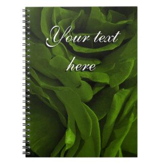 Rich olive green velvety roses flower photo notebooks