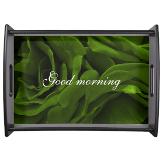 Rich olive green velvety roses flower photo serving tray