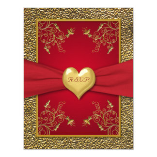 Rich Red and Gold RSVP Card